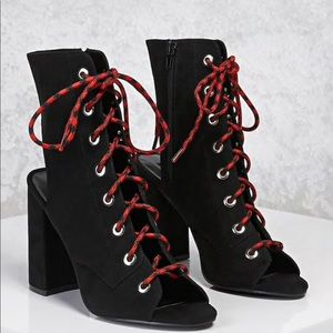 Lace up open toe boots